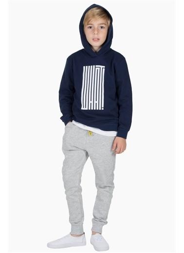 Silversun Kids Kapşonlu Sweat Shirt Örme Uzun Kollu Baskılı Kapşonlu Sweatshirt Erkek Çocuk Js-313277 Lacivert